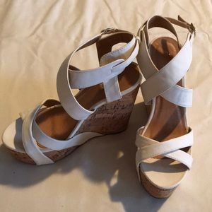 Charlotte Russe white cork wedges size 7